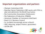 important organizations and partners