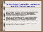 the globalisation of sport and the associated role of the multi national corporations