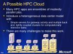 a possible hpc cloud