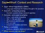 sapir whorf context and research