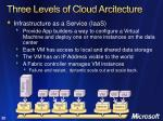 three levels of cloud arcitecture