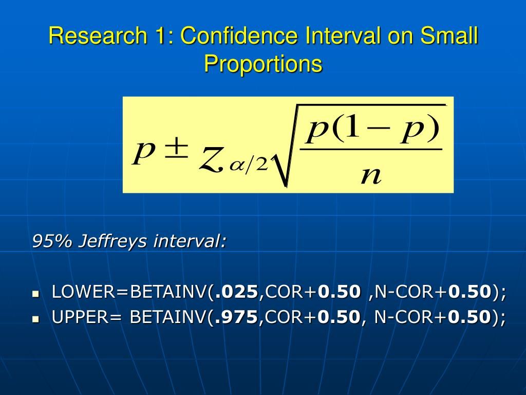 Research 1: Confidence Interval on Small Proportions