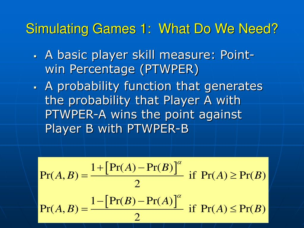 Simulating Games 1:  What Do We Need?