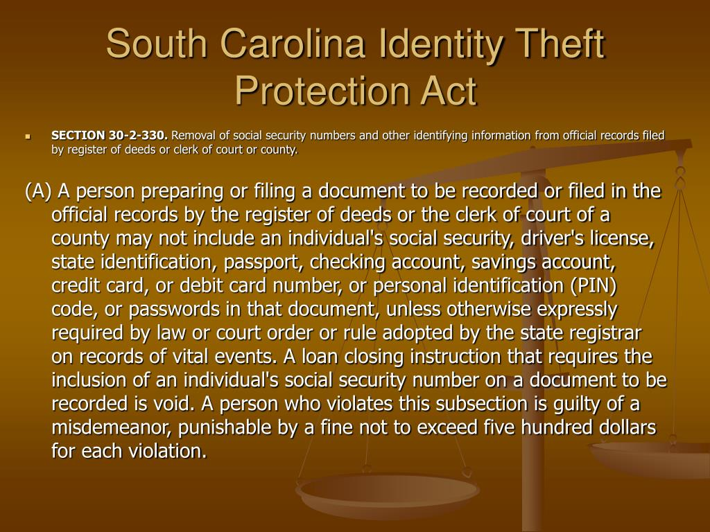 south carolina identity theft protection act l.