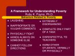 a framework for understanding poverty ruby k payne ph d behaviors related to poverty