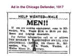 ad in the chicago defender 1917