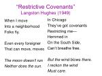 restrictive covenants langston hughes 1949