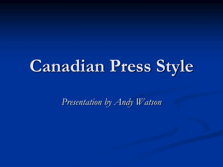 canadian press style n.