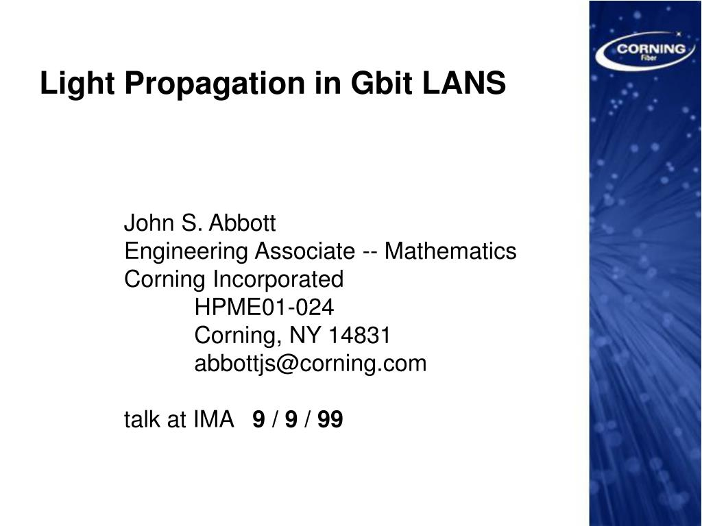light propagation in gbit lans l.