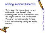 adding roman numerals