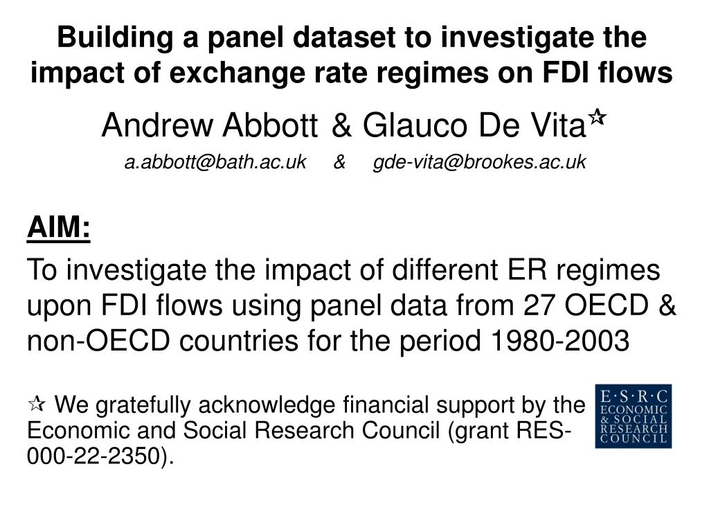building a panel dataset to investigate the impact of exchange rate regimes on fdi flows l.