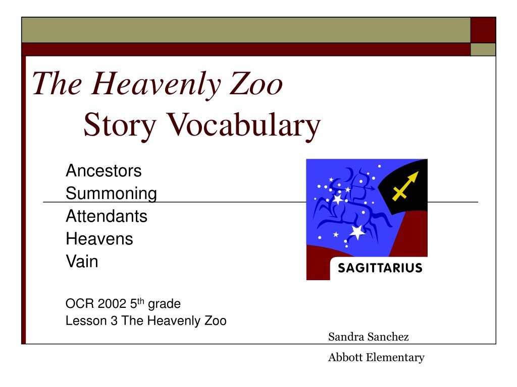 the heavenly zoo story vocabulary l.