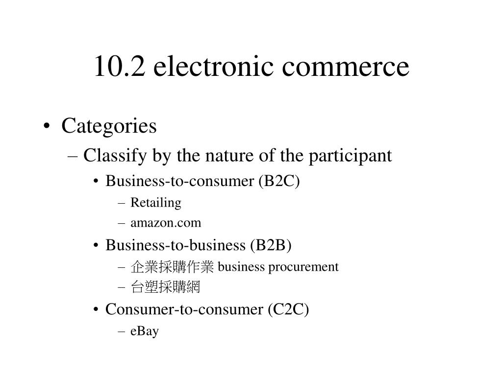 10.2 electronic commerce