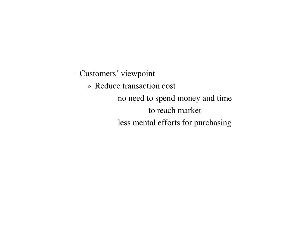Customers' viewpoint