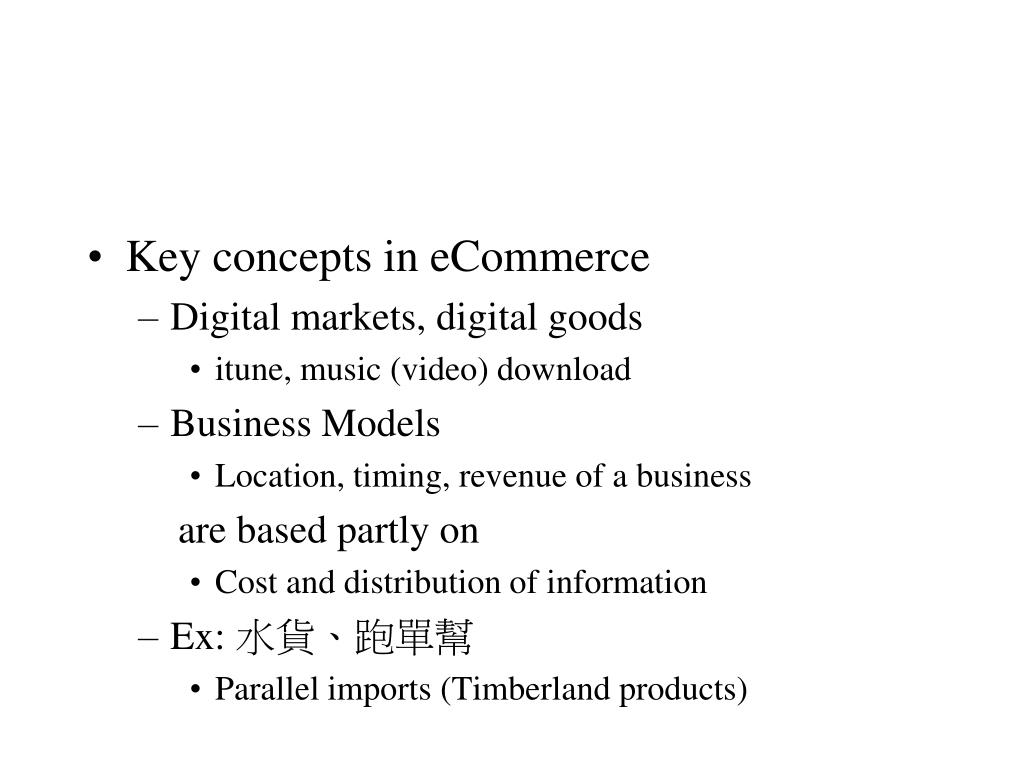Key concepts in eCommerce