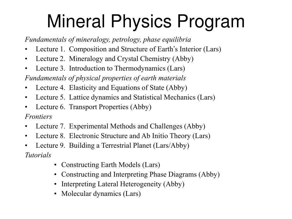 Mineral Physics Program