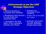 achievements as per the lssp strategic objectives