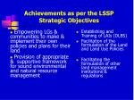 achievements as per the lssp strategic objectives23
