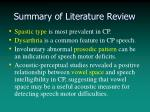 summary of literature review