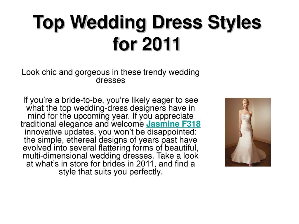 top wedding dress styles for 2011 l.
