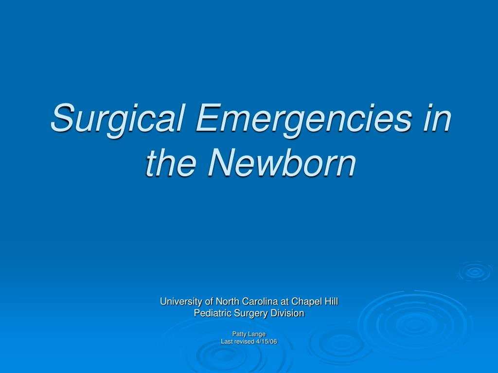 surgical emergencies in the newborn l.