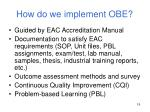 how do we implement obe