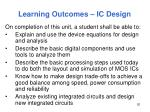 learning outcomes ic design