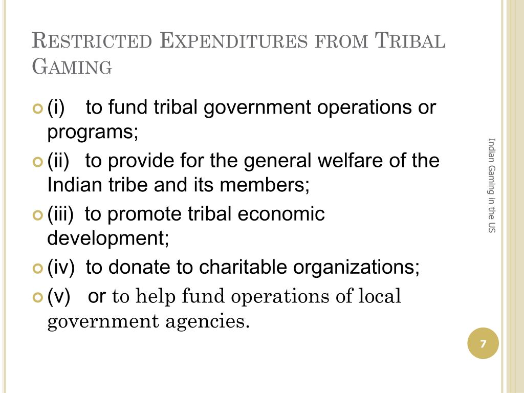 Restricted Expenditures from Tribal Gaming