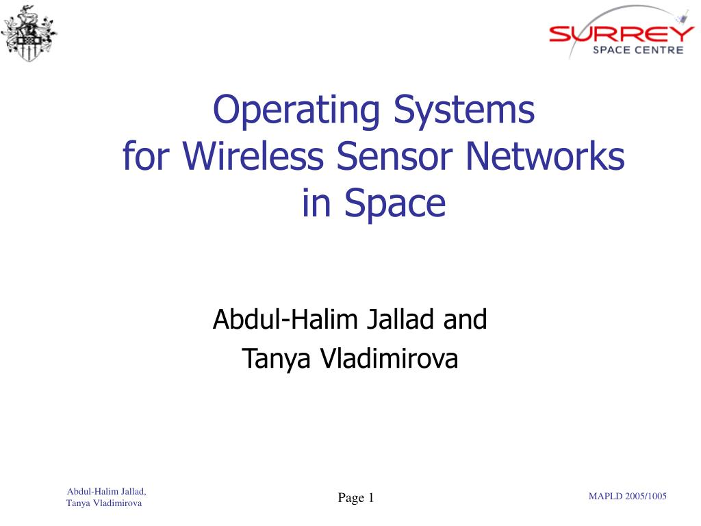 operating systems for wireless sensor networks in space l.