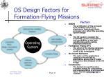 os design factors for formation flying missions