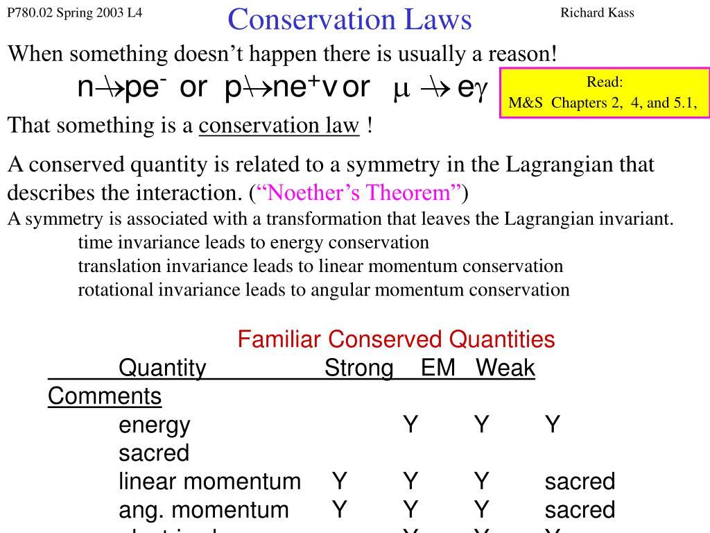 conservation laws l.