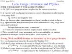 local gauge invariance and physics