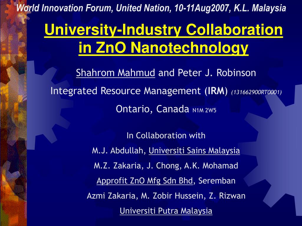 university industry collaboration in zno nanotechnology l.