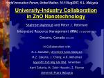 university industry collaboration in zno nanotechnology