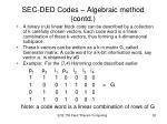 sec ded codes algebraic method contd4