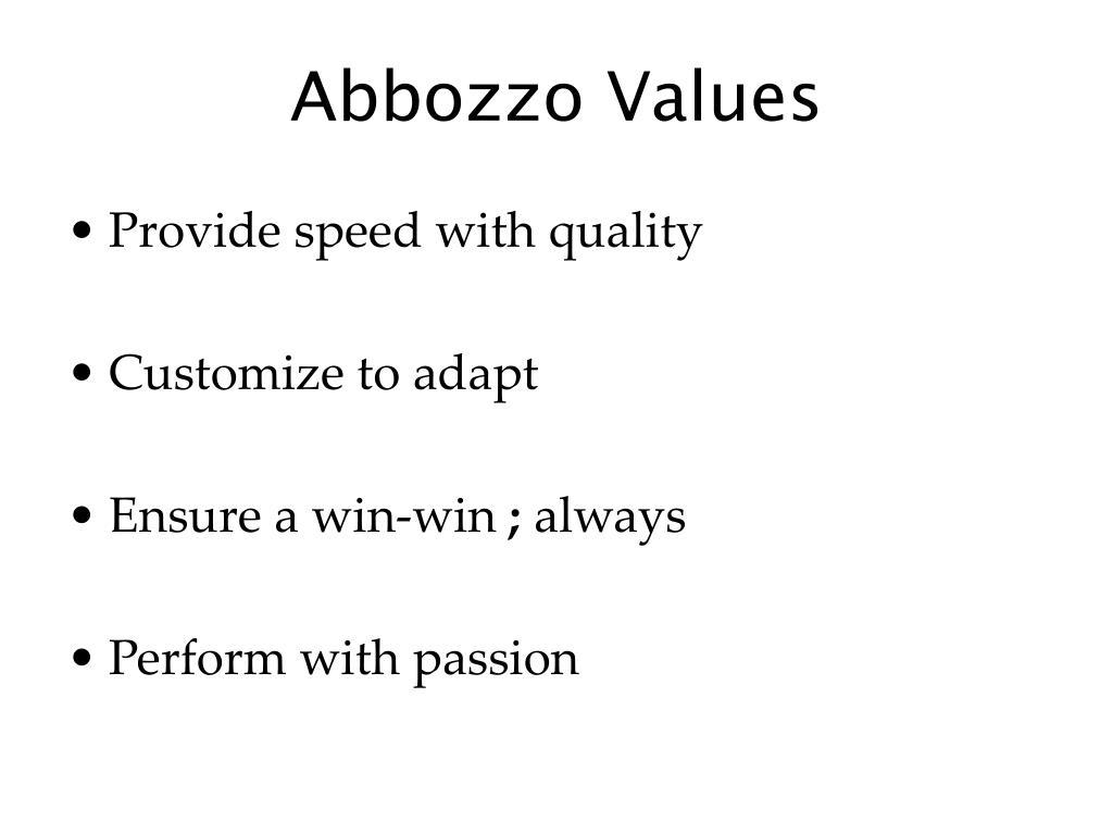 Abbozzo Values