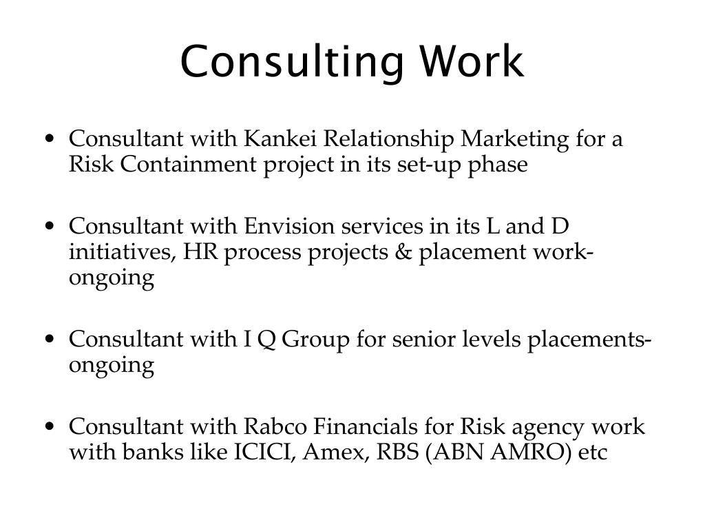 Consulting Work