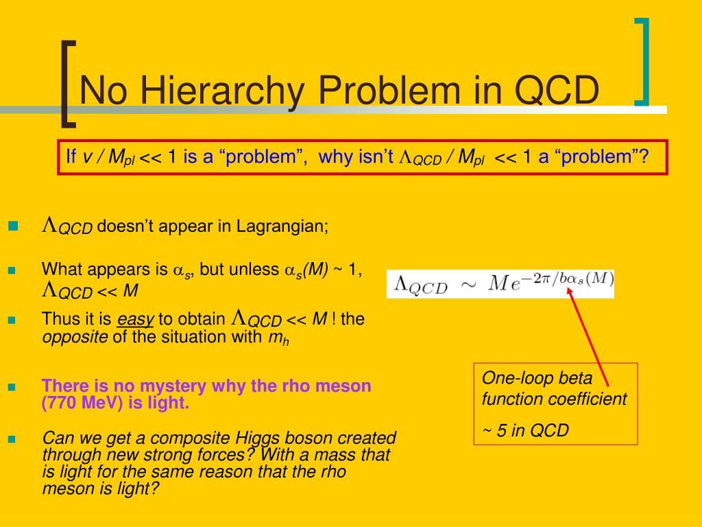 No Hierarchy Problem in QCD