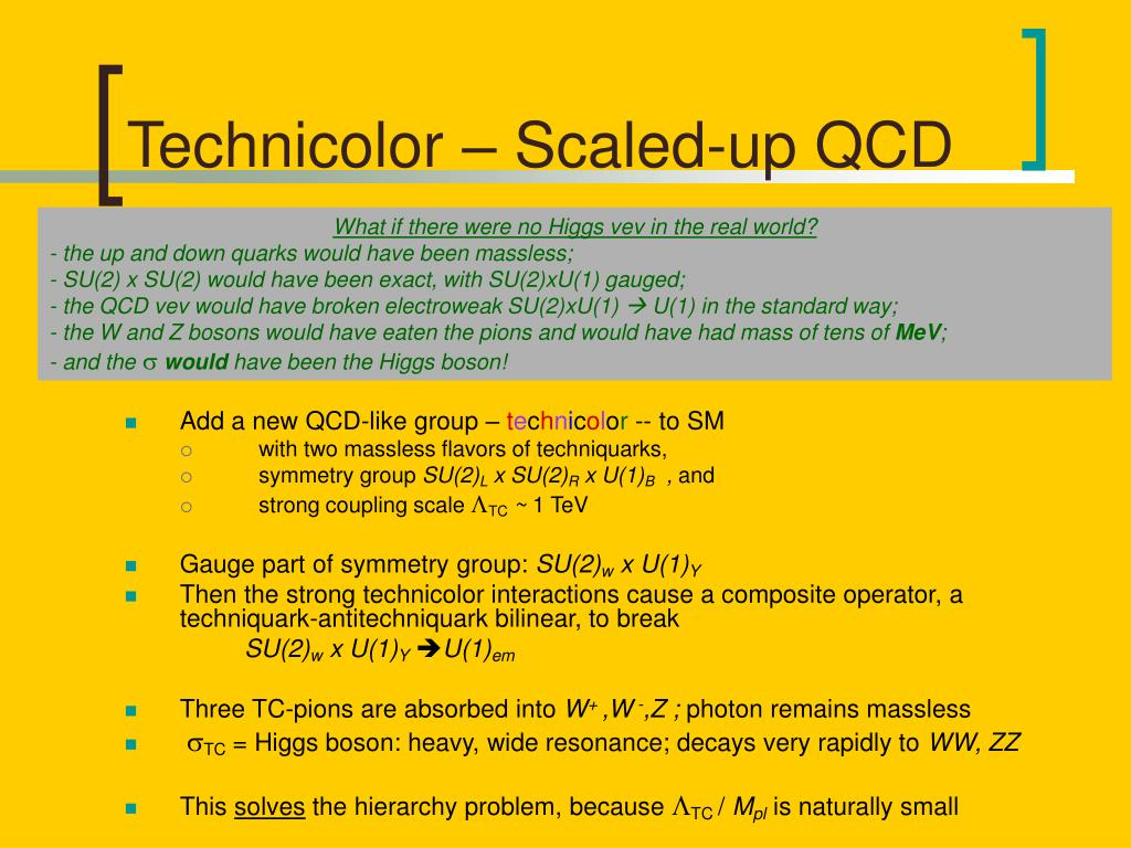 Technicolor – Scaled-up QCD