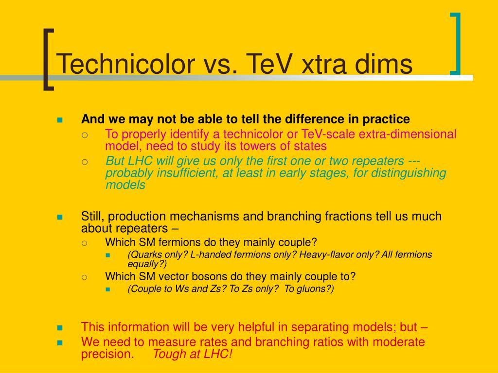 Technicolor vs. TeV xtra dims