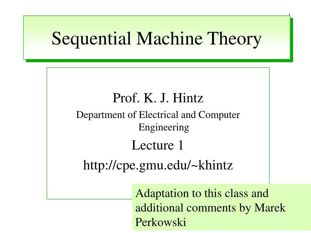 sequential machine theory l.