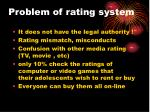 problem of rating system