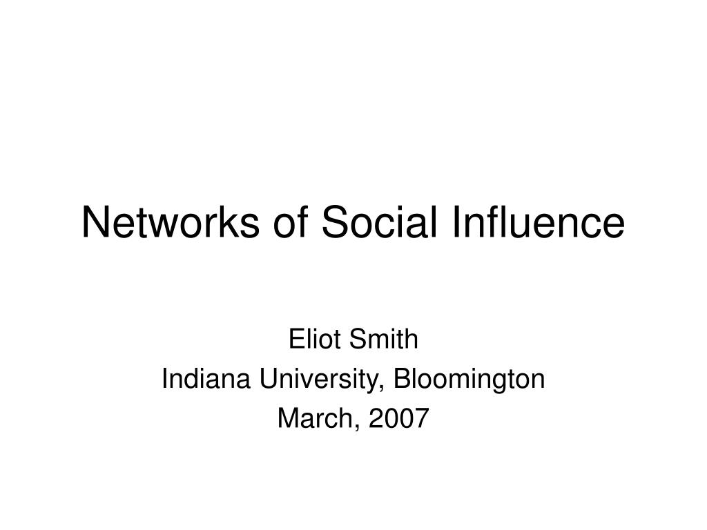 networks of social influence l.