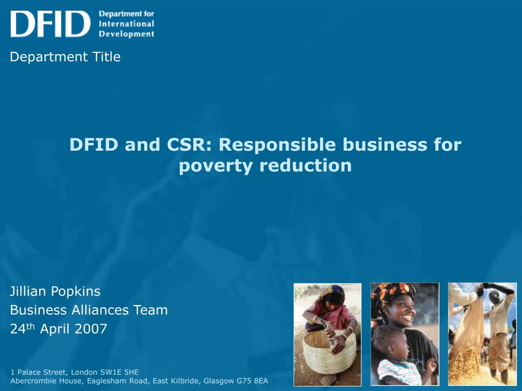 dfid and csr responsible business for poverty reduction l.