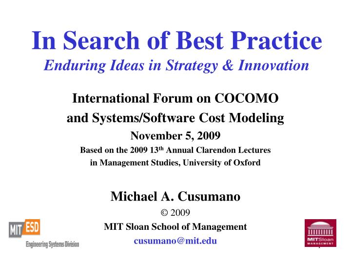 in search of best practice enduring ideas in strategy innovation n.