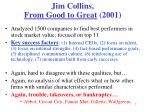 jim collins from good to great 2001