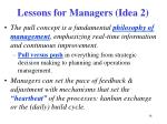 lessons for managers idea 2