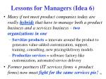 lessons for managers idea 6