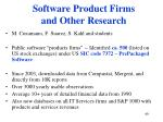 software product firms and other research