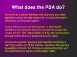 what does the pba do